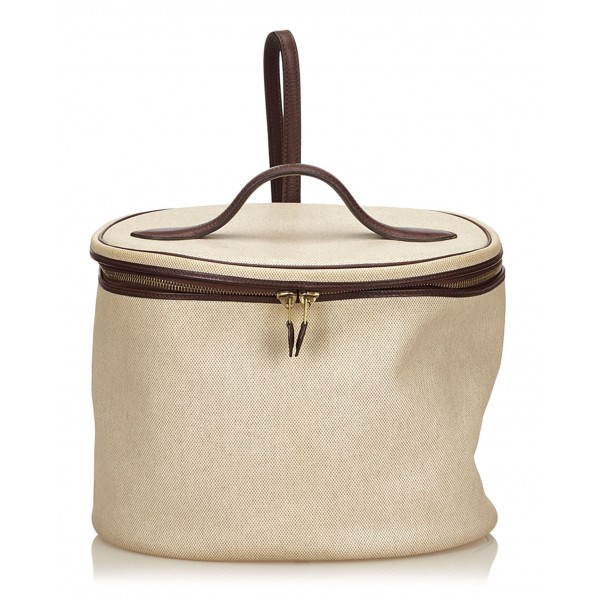 Hermès Vintage - Intercity Vanity Bag - Ivory Brown White - Leather and Canvas Handbag - Luxury High Quality