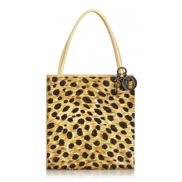 d67e1ce895ee31 Dior Vintage - Canvas Tote Bag - Yellow Black - Leather Handbag - Luxury  High Quality
