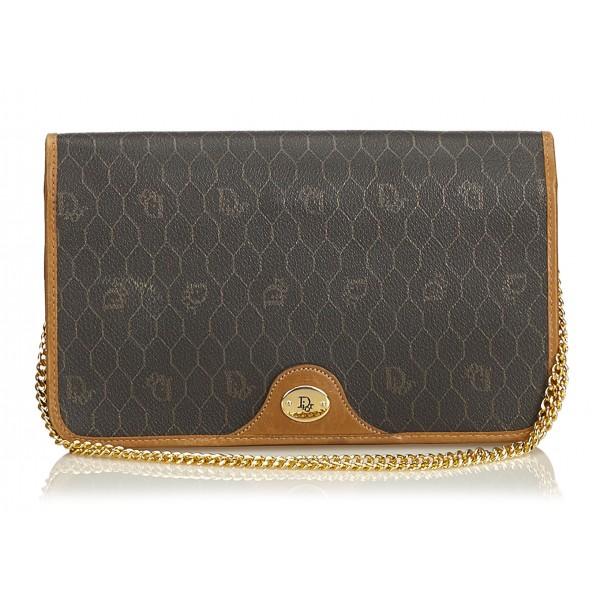 ee243afbbbe4c3 Dior Vintage - Honeycomb Coated Canvas Chain Shoulder Bag - Black - Leather  Handbag - Luxury
