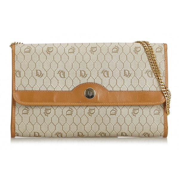 52b61649d06b5b Dior Vintage - Honeycomb Coated Canvas Chain Crossbody Bag - Brown Beige - Leather  Handbag -