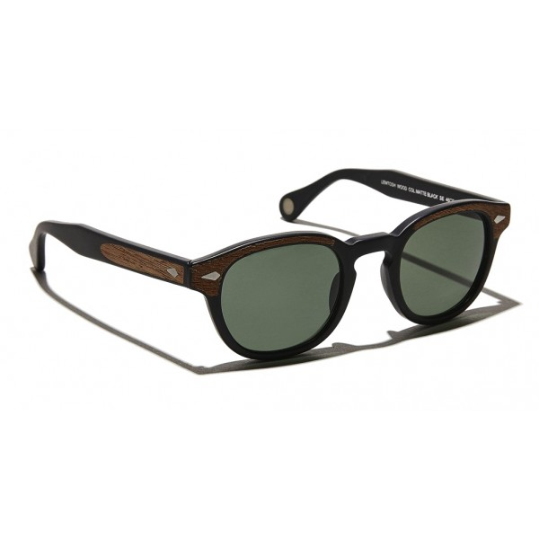 Moscot - Lemtosh Sun - Matte Black / Wood - Sunglasses - Moscot Originals - Moscot Eyewear