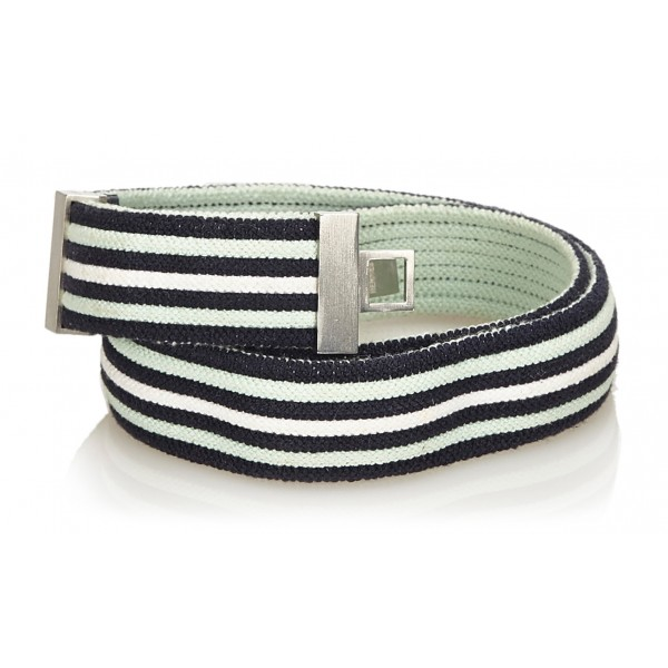 Hermès Vintage - Cotton Belt - Blu Navy Bianco - Cintura in Cotone - Alta Qualità Luxury