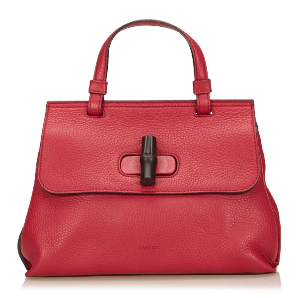 Gucci Vintage - Leather Bamboo Daily Bag - Rosso - Borsa in Pelle - Alta Qualità Luxury
