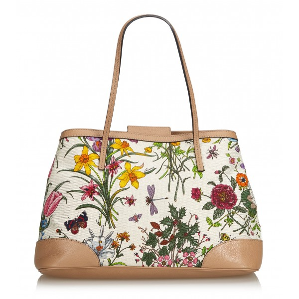 3e1fdc084ca5 Gucci Vintage - Canvas Floral Tote Bag - White - Leather Handbag - Luxury  High Quality - Avvenice