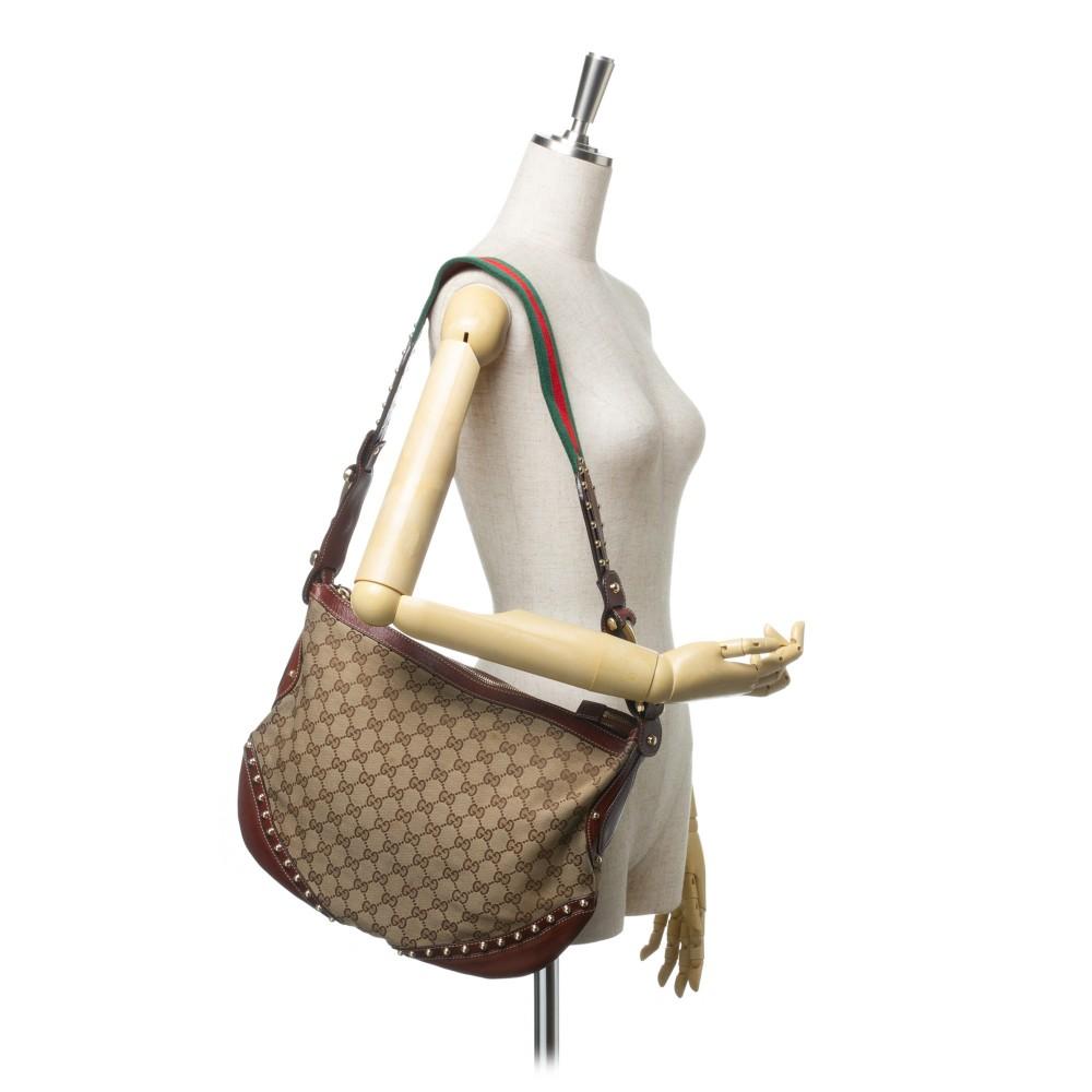 98fe3f261b4ed8 ... Gucci Vintage - Large Guccissima Pelham Studded Messenger Bag - Brown - Leather  Handbag - Luxury