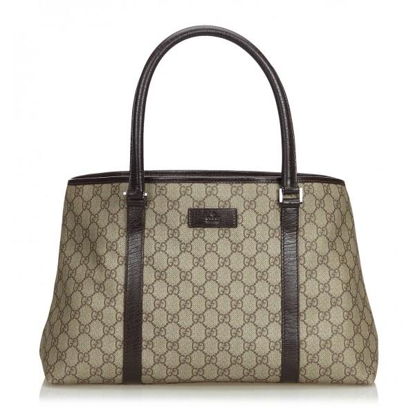 Gucci Vintage Gg Tote Bag Brown Leather Handbag Luxury High Quality