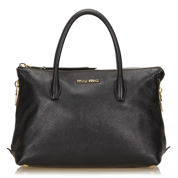 Miu Miu Vintage - Leather Handbag Bag - Black - Leather Handbag - Luxury High Quality