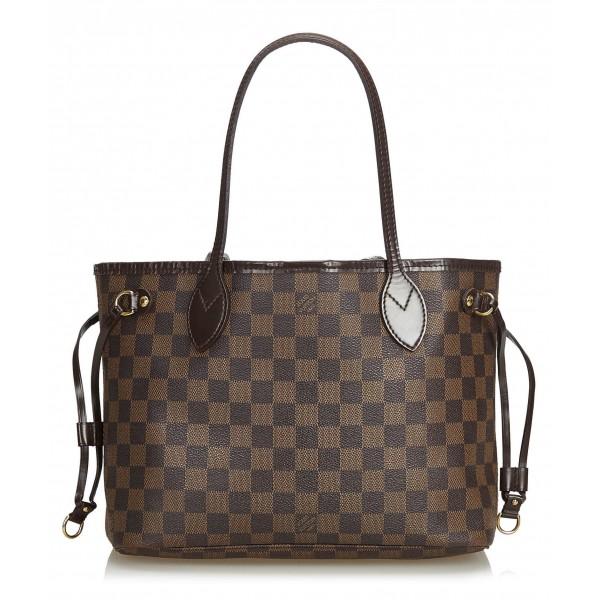 Louis Vuitton Vintage - Damier Ebene Neverfull PM Bag - Brown - Damier Canvas and Leather Handbag - Luxury High Quality