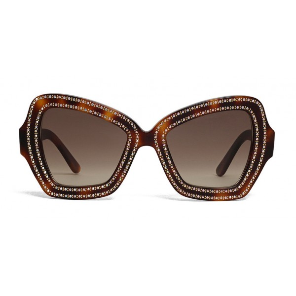 Céline - Butterfly Sunglasses in Acetate and Crystals - Dark Havana - Sunglasses - Céline Eyewear