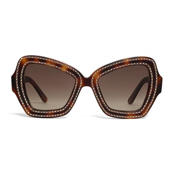 Céline - Occhiali da Sole a Farfalla in Acetato e Cristalli - Havana Scuro - Occhiali da Sole - Céline Eyewear