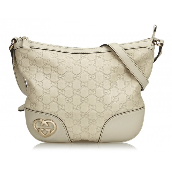 490a924b3d69 Gucci Vintage - Guccissima Lovely Crossbody Bag - White - Leather Handbag -  Luxury High Quality - Avvenice