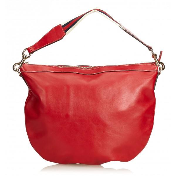 41ff0e19ac Gucci Vintage - Web Leather Shoulder Bag - Rosso - Borsa in Pelle - Alta  Qualità