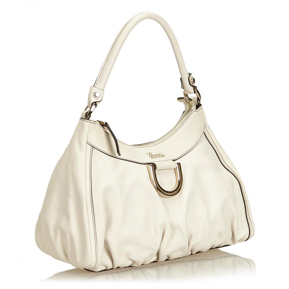 240d8f6cbf5 ... Gucci Vintage - Guccissima Leather D-Ring Shoulder Bag - White - Leather  Handbag ...