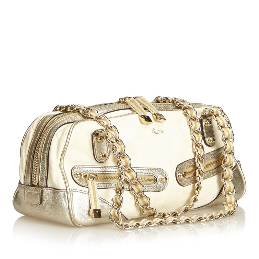9f1fe595bcb4 ... Gucci Vintage - Leather Princy Shoulder Bag - White - Leather Handbag -  Luxury High Quality ...