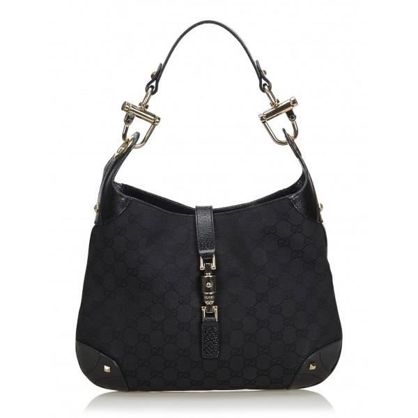3969ccedc Gucci Vintage - GG New Jackie Jacquard Hobo Bag - Black - Leather Handbag -  Luxury High Quality - Avvenice