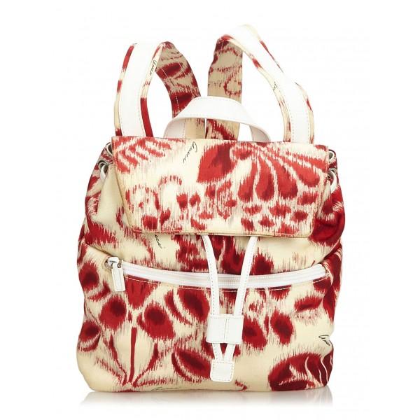 Gucci Vintage - Nylon Backpack - Bianco Rosso - Zaino in Pelle - Alta Qualità Luxury
