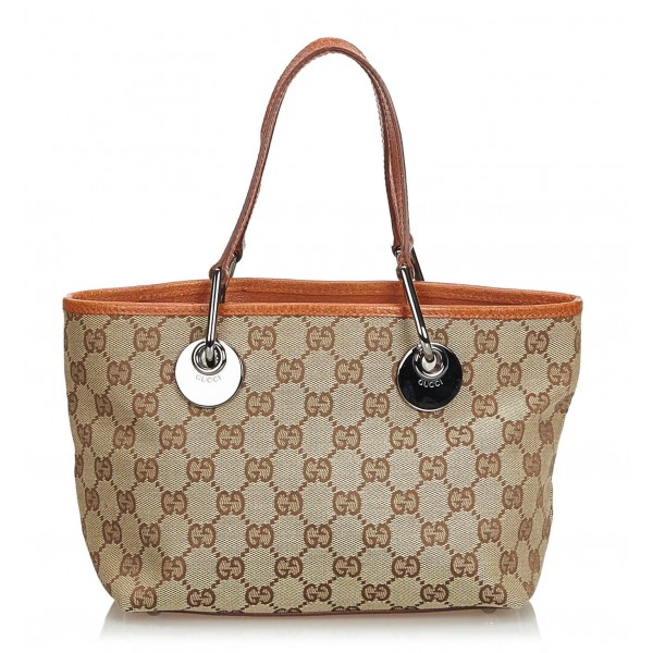 783021383 Gucci Vintage - GG Jacquard Tote Bag - Brown - Leather Handbag - Luxury  High Quality - Avvenice