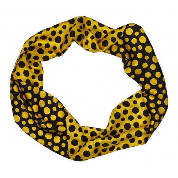Louis Vuitton Vintage - Yayoi Kusama Printed Silk Scarf - Black Yellow - LV Silk Scarf - Luxury High Quality