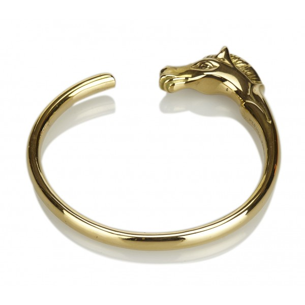 Hermès Vintage - Horse Head Bangle - Gold - Gold Bracelet - Luxury High Quality