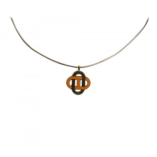 Hermès Vintage - Metal Isatis Pendant Necklace - Gold Orange - Hermès Necklace - Luxury High Quality