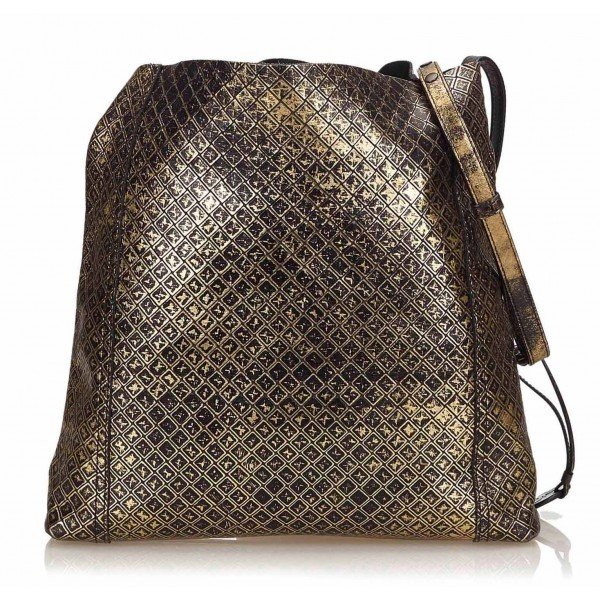 Bottega Veneta Vintage - Intrecciomirage Leather Shoulder Bag - Nero Oro - Borsa in Pelle - Alta Qualità Luxury
