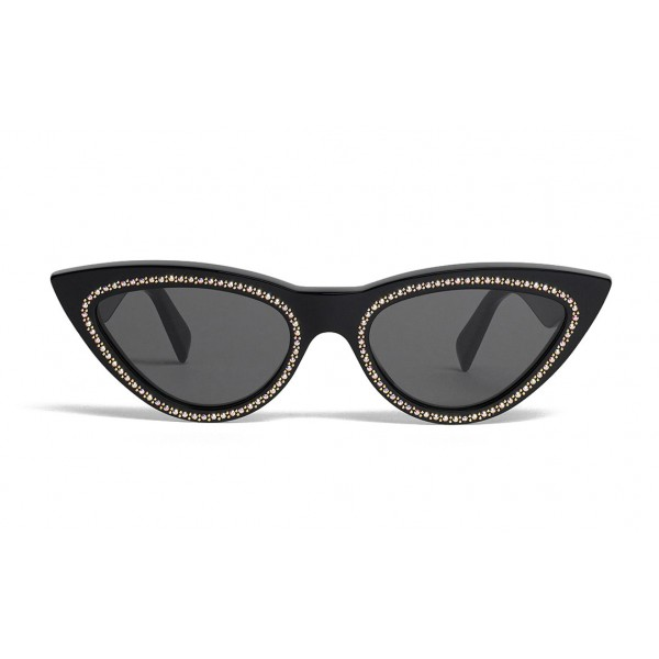 Céline - Cat Eye Sunglasses in Acetate with Crystals and Metal - Black - Sunglasses - Céline Eyewear