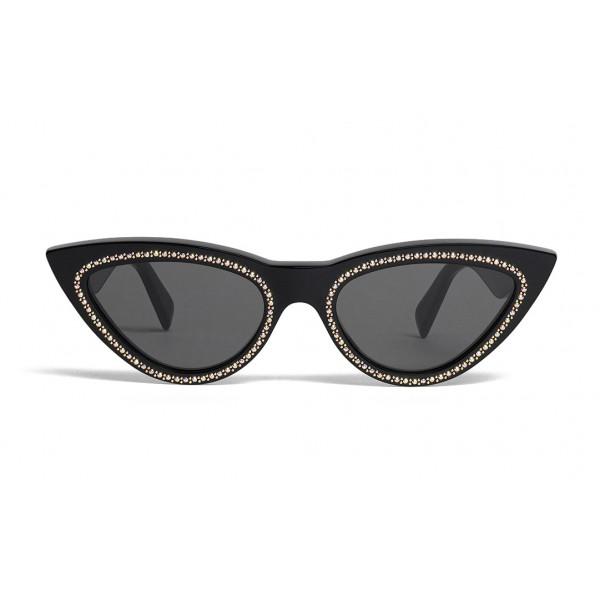 Céline - Occhiali da Sole Cat Eye in Acetato con Cristalli e Metallo - Nero - Occhiali da Sole - Céline Eyewear