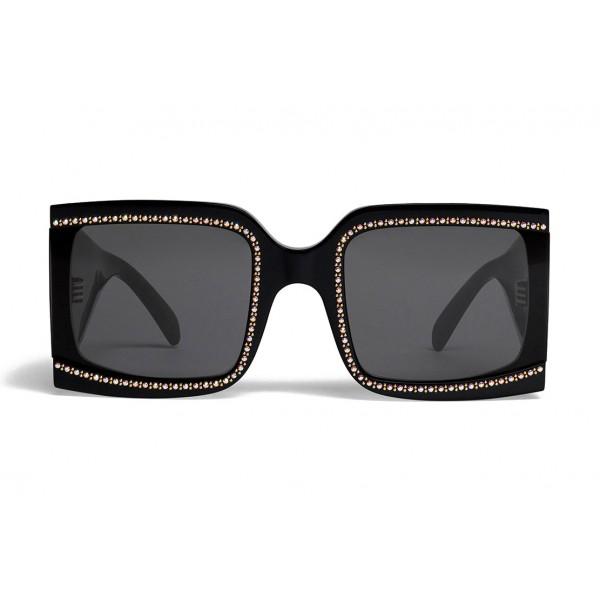 Céline - Occhiali da Sole Oversized in Acetato con Cristalli e Metallo - Nero - Occhiali da Sole - Céline Eyewear