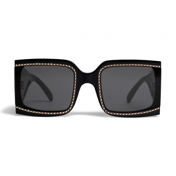 Céline - Oversized Sunglasses in Acetate with Crystals and Metal - Black - Sunglasses - Céline Eyewear