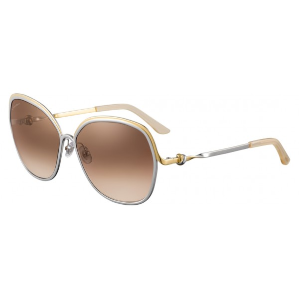 Cartier - Metal Gold and Palladium Two-Tone Finish, Brown Lenses - Trinity Collection - Sunglasses - Cartier Eyewear
