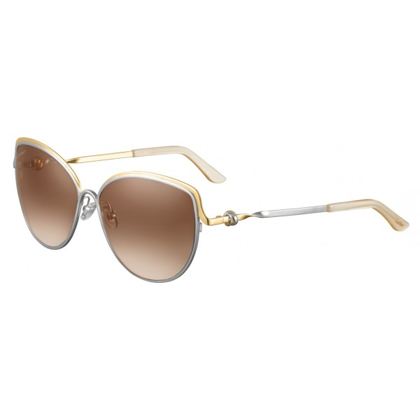 Cartier - Cat Eye - Metal Gold and Palladium Two-Tone Finish, Brown Lenses - Trinity Collection - Sunglasses - Cartier Eyewear
