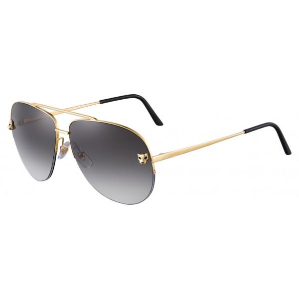 Cartier - Aviator - Metallo, Finitura Oro Lucida, Lenti Grigie - Panthère de Cartier - Occhiali da Sole - Cartier Eyewear