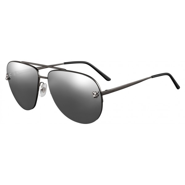 Cartier - Aviator - Metal, Black PVD and Ruthenium Finishes - Panthère de Cartier - Sunglasses - Cartier Eyewear
