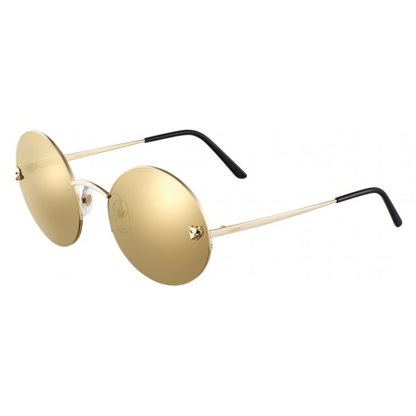 Cartier - Round - Golden Metal, Gold Finish Glossy Champagne - Panthère de Cartier - Sunglasses - Cartier Eyewear