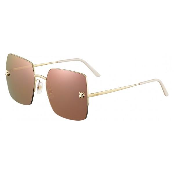 fa4cad6b6c New Cartier - Square - Metal Gold Finish Champagne - Panthère De Cartier -  Sunglasses - Cartier