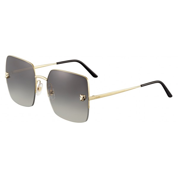 Cartier - Square - Metal Gold Finish Champagne, Gray Lenses - Panthère de Cartier - Sunglasses - Cartier Eyewear