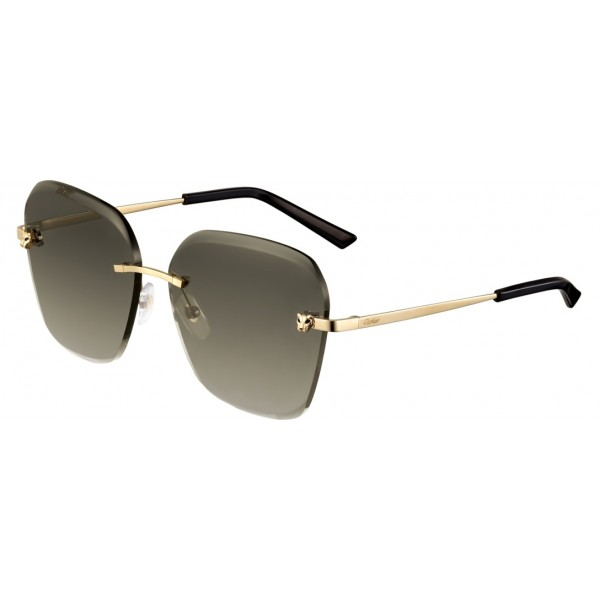 Cartier - Square - Metal Gold Finish Champagne, Brown Lenses - Panthère de Cartier - Sunglasses - Cartier Eyewear