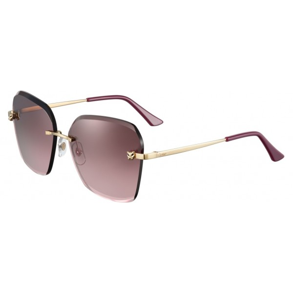 Cartier - Square - Metal Gold Finish Champagne, Bordeaux Lenses - Panthère de Cartier - Sunglasses - Cartier Eyewear