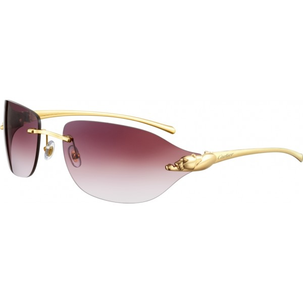 Cartier - Rectangular-Oval - Metal, Polished Gold Finish, Purple Lenses - Panthère de Cartier - Sunglasses - Cartier Eyewear
