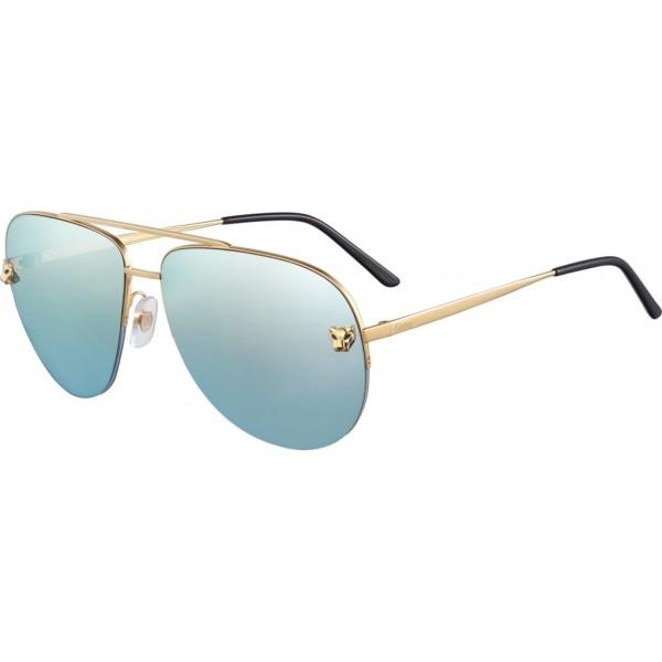 Cartier - Aviator - Metallo, Finitura Oro Lucida - Panthère de Cartier - Occhiali da Sole - Cartier Eyewear