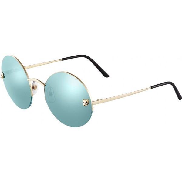 Cartier - Round - Golden Metal, Gold Finish Champagne, Blue - Panthère de Cartier - Sunglasses - Cartier Eyewear
