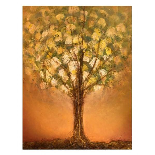 Eliza Oynus - Bronze Tree - Installation - Silk - Linen - Gold
