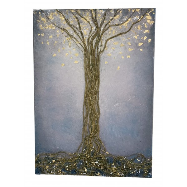 Eliza Oynus - Grey Tree - Installation - Silk - Linen - Gold