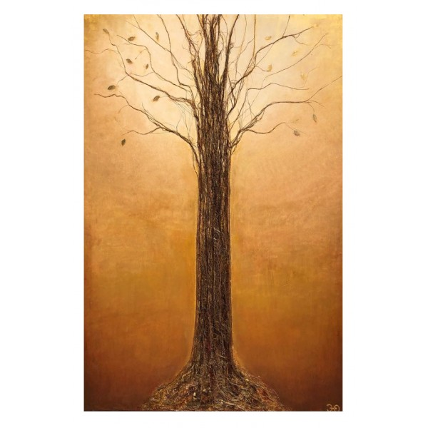 Eliza Oynus - Golden Tree - Installation - Silk - Linen - Gold