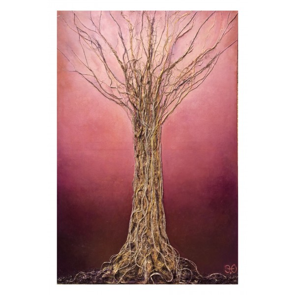 Eliza Oynus - Purple Tree - Installation - Silk - Linen - Gold