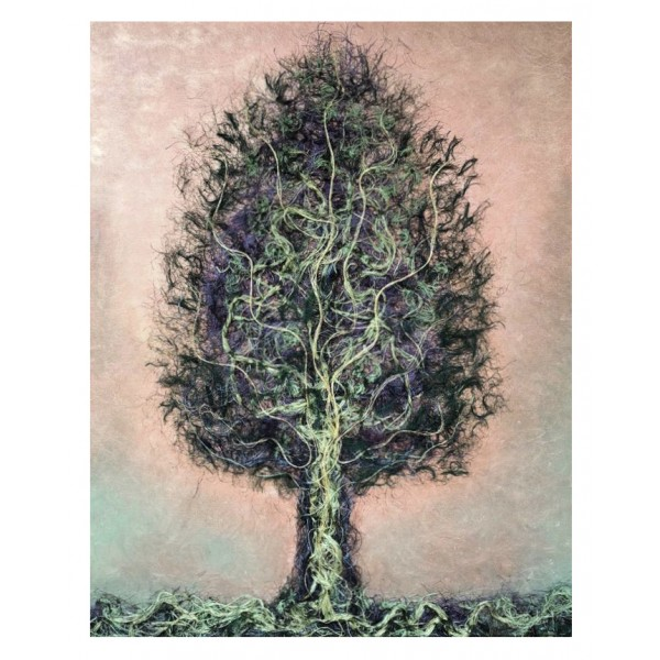 Eliza Oynus - Green Tree - Installation - Silk - Linen - Gold