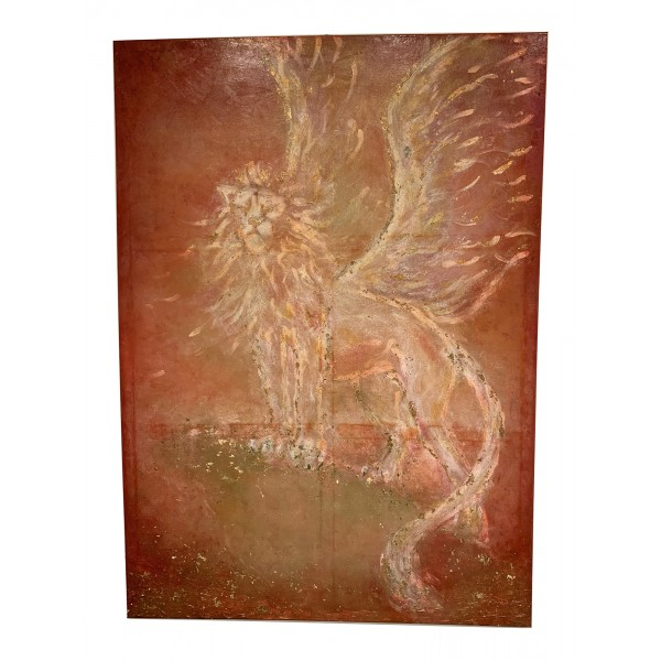 Eliza Oynus - Winged Lion - Installation - Silk - Linen - Gold
