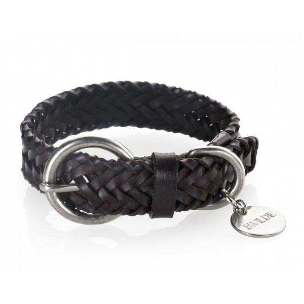 B Wilde Collection - Set Figaro - Dark Chocolate - Collar & Leash - Figaro Collection - Leather Collar - High Quality Luxury
