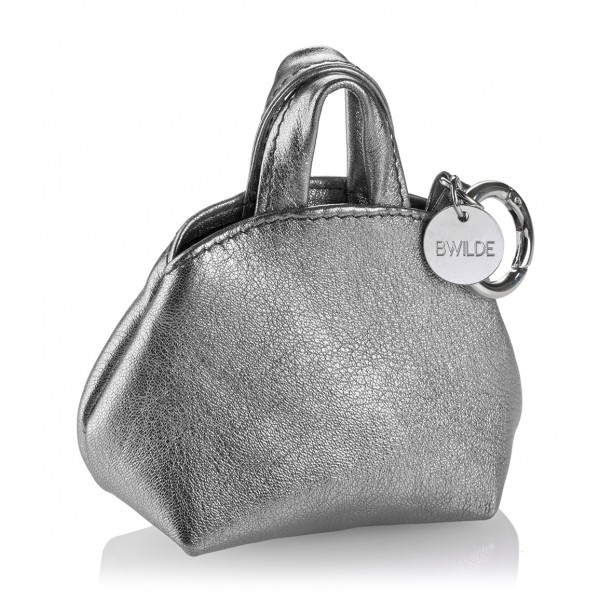 B Wilde Collection - Mini Dog Bag Dispenser - Grigio Laminato - Wilde Collection - Dispenser in Pelle - Alta Qualità Luxury