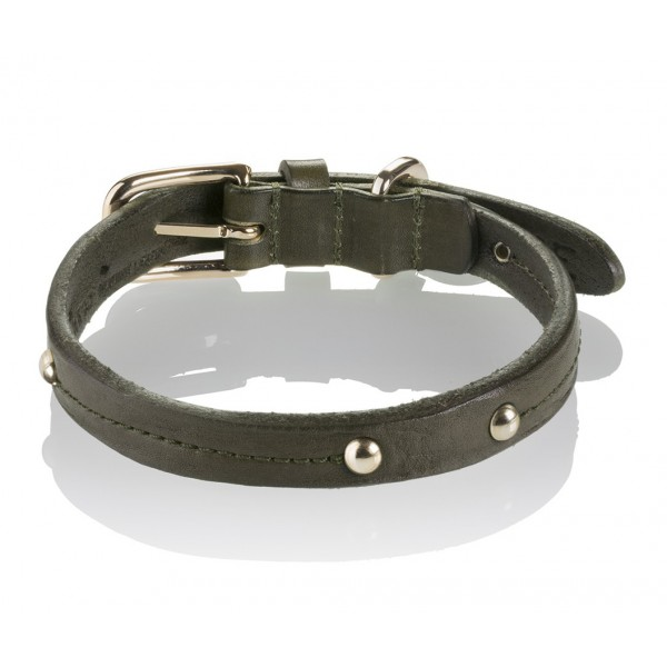 B Wilde Collection - Set Milo - Olive - Collar & Leash - Milo Collection - Leather Collar - High Quality Luxury